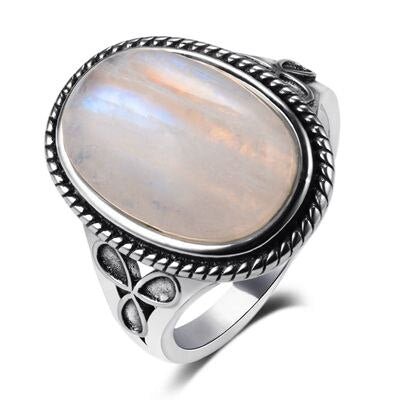 925 Sterling Silver Vintage Natural Moonstone 11x17MM Center Stone Ring