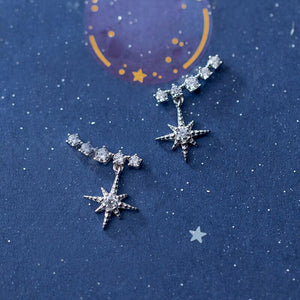 925 Sterling Silver Star Earrings w/ CZ Fine Jewelry