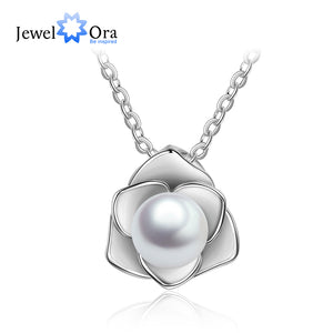 925 Sterling Silver Rose Shape Pearl Necklace & Pendant