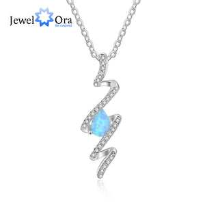 Geometirc Style 925 Sterling Silver Ribbon Shape Twist Blue Opal Necklace & Pendant