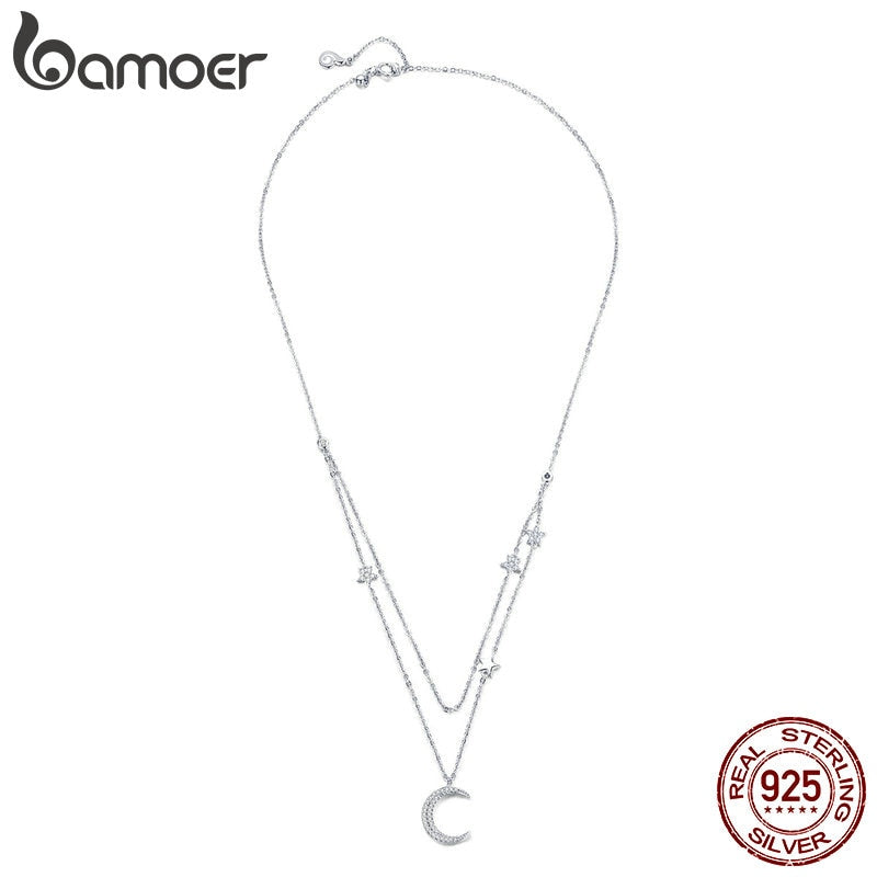 BAMOER 925 Sterling Silver Moon & Star Double Layers Chain Necklace