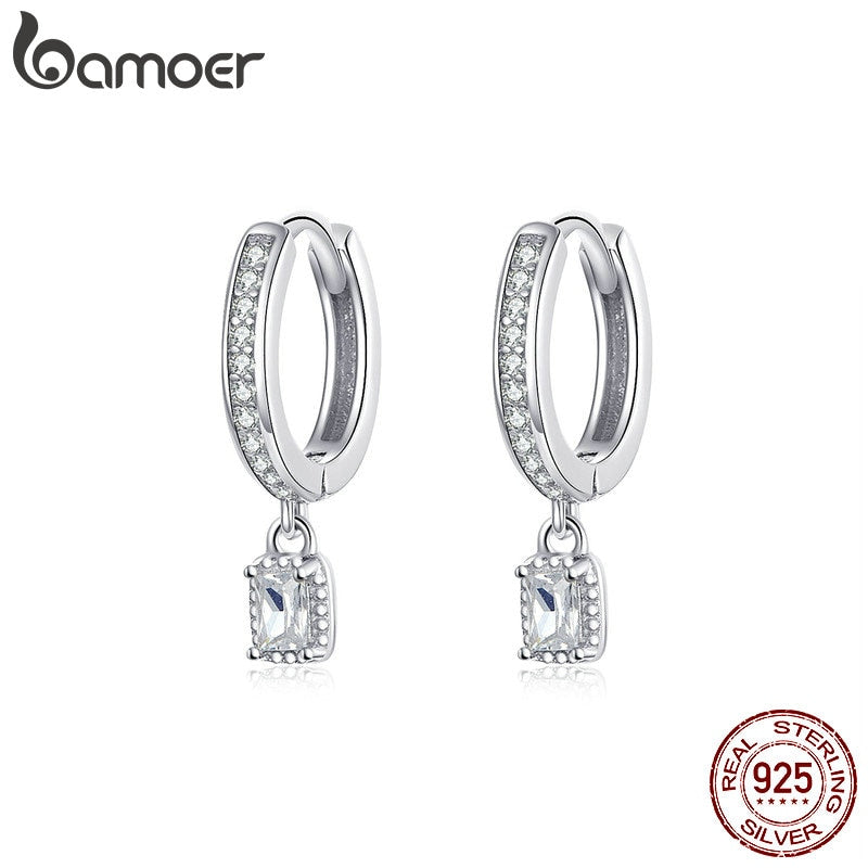 925 Sterling Silver Hoop Earrings With Charm Cubic Zirconia