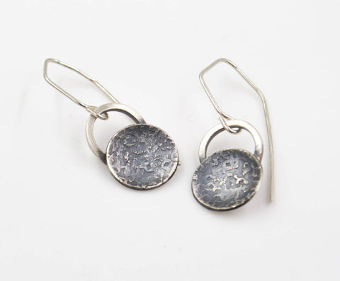 Hammered Silk - Sterling Silver - Disk Earrings