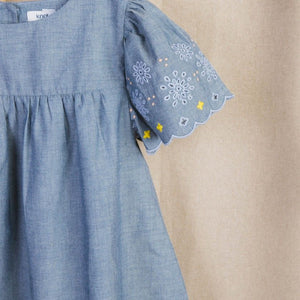 Embroidered chambray dress
