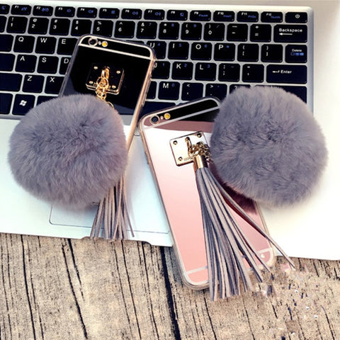 Fashion Mirror Hair Pompom Case For iphone - Phone Dress