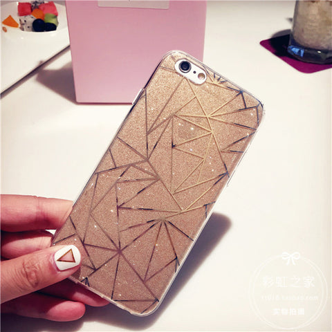Glitter Powder Silver Rhombus Soft Case For iPhone - Phone Dress