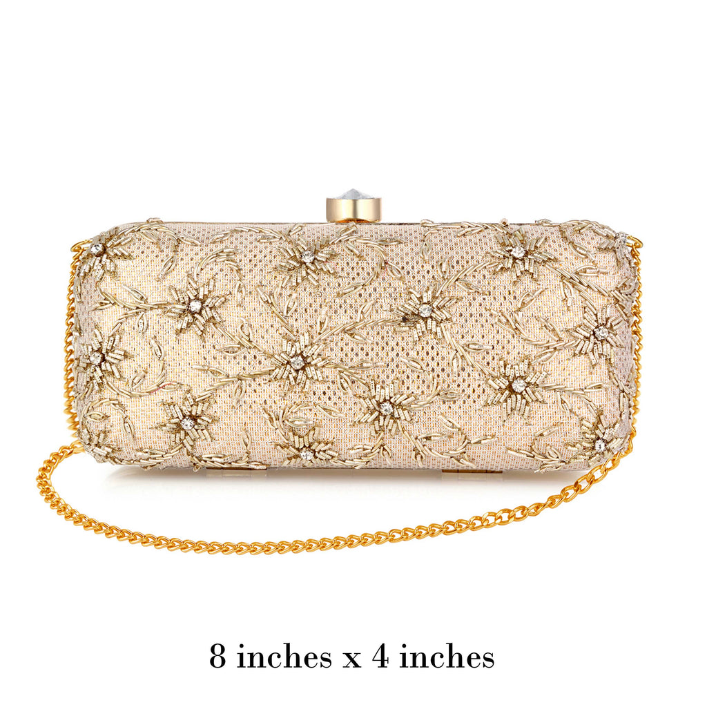 Light Gold Fleur Clutch