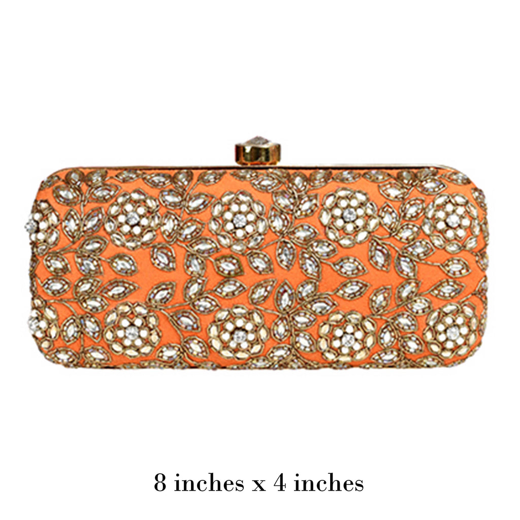 Orange Kundan Clutch
