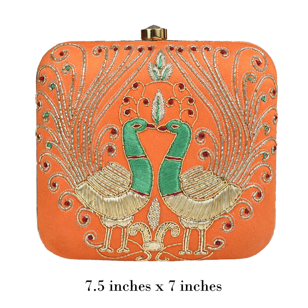 Orange Peacock Clutch