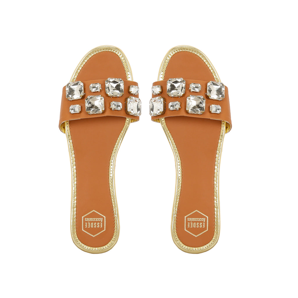 Tan Embellished Flats