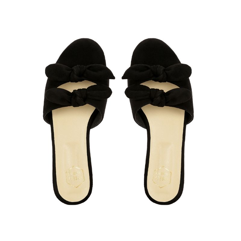 Black Double Bow Flats