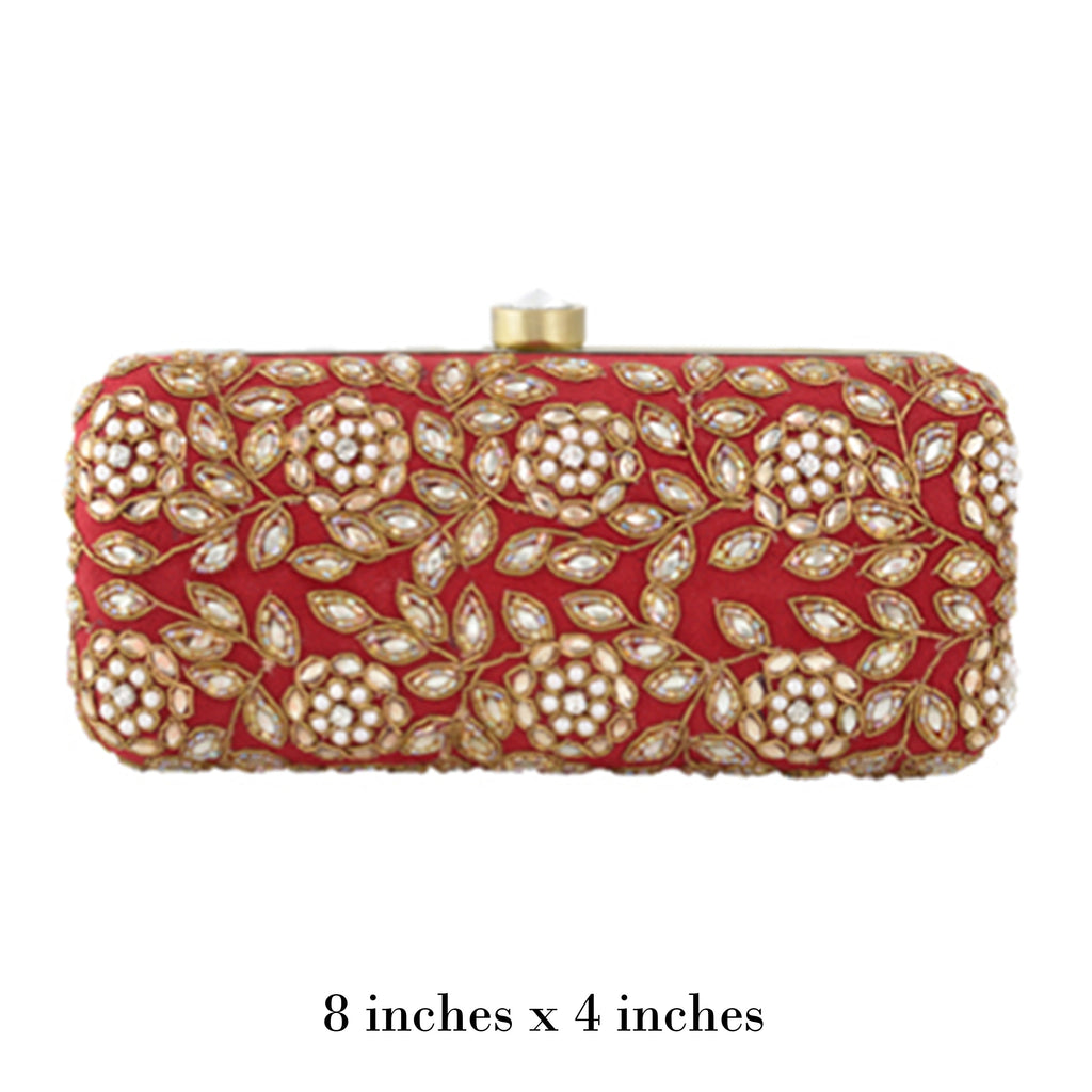 Red Kundan Clutch
