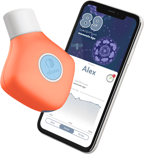 The Aluna device with a screenshot of the companion app.