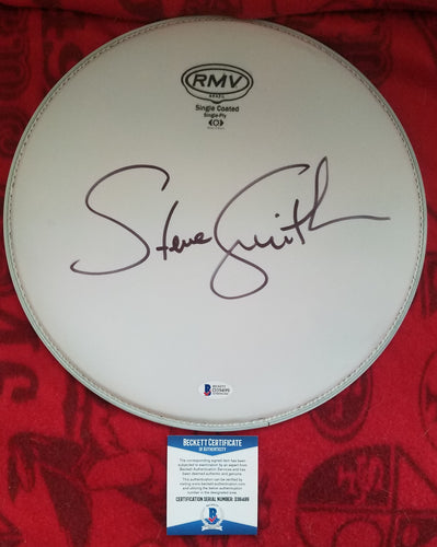 Steve Smith Beckett Authenticated Hand Signed 12 Inch Drumhead Journey