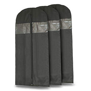 "Plixio 60"" Black Garment Bags for Breathable Storage of Dresses & Dance Costumes, Suits-Includes Zipper & Transparent Window (3)"
