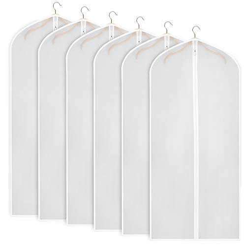 Zilink Garment Bags for Long Dresses 60-inch Translucent Suit Bag with Full-Length Zipper (Set of 6) for Dance Costumes Gown Dress Clothes Storage [Upgraded Version]