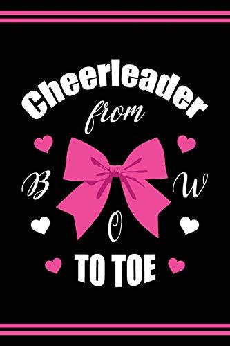 Cheerleader Book Girls Cheerleading Journal: Blank Lined Notebook + Goals and Wish List | Cheerleader From Bow To Toe | Black Pink Cover with Cheerleader Silhouette