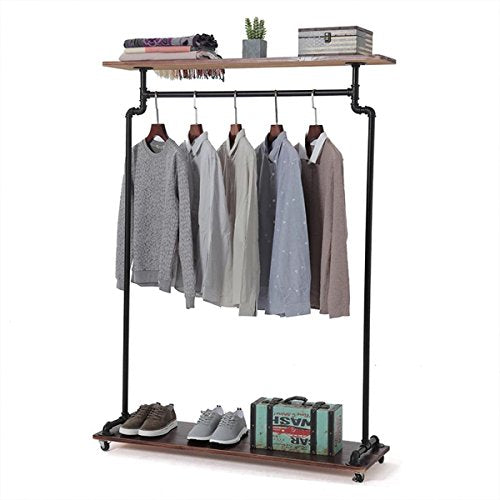 FURVOKIA Industrial Pipe Shelves Vintage Rolling Clothing Rack with Wheels Shoe Bag Shelf,Heavy Duty Commercial Grade Free Standing Garment Racks,Closet Steampunk Storage Decor 47''W x 60''H