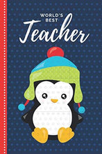 Load image into Gallery viewer, World's Best Teacher: Red Blue Baby Penguin Theme in Teal Green Winter Hat / 6x9 Daily To Do List Notebook and Christmas Card for Teacher Combo / Teacher Planner Gift For Christmas