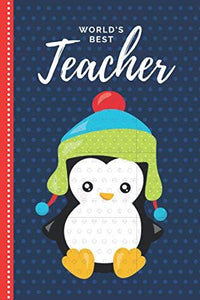 World's Best Teacher: Red Blue Baby Penguin Theme in Teal Green Winter Hat / 6x9 Daily To Do List Notebook and Christmas Card for Teacher Combo / Teacher Planner Gift For Christmas