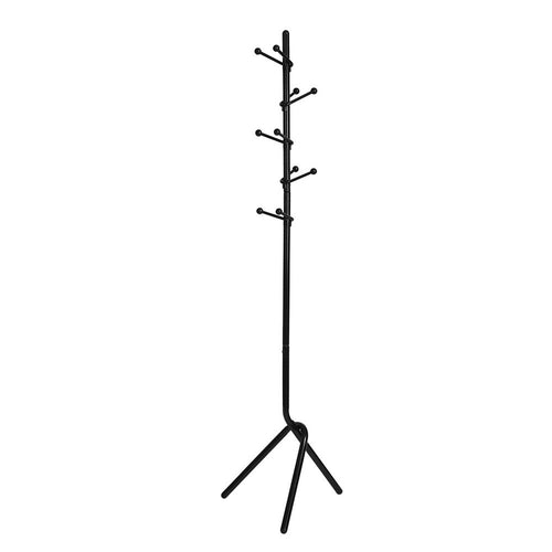 Sanfurney Metal Coat Rack Hat Stand Clothes Tree Hanger Holder 10 Hooks Purse Display Stand with Base, Black