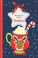 Load image into Gallery viewer, World's Best Teacher: Red Blue Reindeer Hot Cocoa Mug Theme / 6x9 Daily To Do List Notebook and Christmas Card for Teacher Combo / Teacher Planner Gift For Christmas