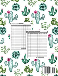 Monthly Bill Planner: Cute Cactus Cover | Simple Monthly Bill Payment Checklist and Bill Tracker Log Book Organizer Planner Money Debt Family Budgeting Financial Notebook