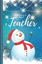 Load image into Gallery viewer, World's Best Teacher: Blue White Snowman Theme / 6x9 Daily To Do List Notebook and Christmas Card for Teacher Combo / Teacher Planner Gift For Christmas