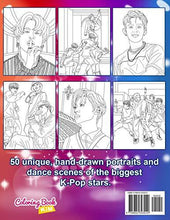 Load image into Gallery viewer, KPOP Coloring Book: A Collection Of Portraits And Dance Scenes Of The Kpop Idols. (BTS, TXT, EXO, Stray Kids, GOT7, NCT, SEVENTEEN, ONEUS, Monsta X, Ateez)