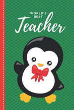 Load image into Gallery viewer, World's Best Teacher: Green Red Baby Penguin With Bow Theme / 6x9 Daily To Do List Notebook and Christmas Card for Teacher Combo / Teacher Planner Gift For Christmas