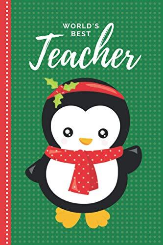 World's Best Teacher: Green Red Baby Penguin With Holly Red Headband / 6x9 Daily To Do List Notebook and Christmas Card for Teacher Combo / Teacher Planner Gift For Christmas