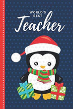 Load image into Gallery viewer, World's Best Teacher: Red Blue Theme with Baby Penguin in Santa Hat / 6x9 Daily To Do List Notebook and Christmas Card for Teacher Combo / Teacher Planner Gift For Christmas