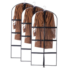 Load image into Gallery viewer, Budget 3 packs transparent pvc garment bag dance costume bags foldable 51 inch full zipper suits bag dream duffel versatile hanging garment bag with 6 large zipper pockets for dance competitions travel