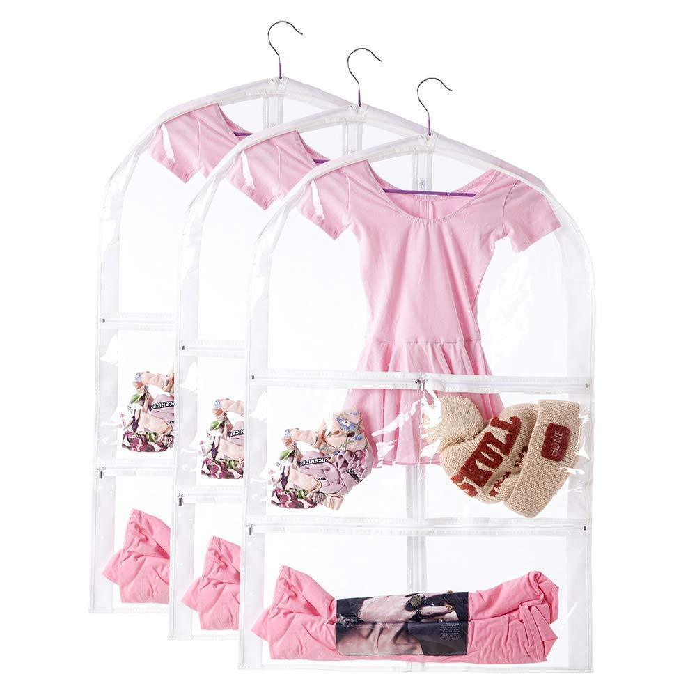 Storage organizer clear kids dance costume bag childrens ballet recital garment bag versatile dance outfit hanging garment bag dream duffel with 3 large clear zipper pockets for dance competitions travel3 packs