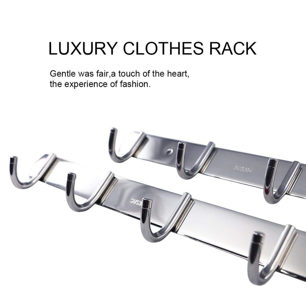 SZAT PRO Quality Solid Stainless Steel Wall Mounted 4-Hook & 5-Hook Clothes Hat Coat Hanger Bathroom Organizer Rack (Silver, 2 in 1 Pack)