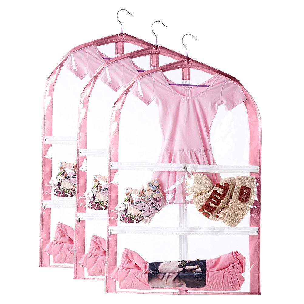 Select nice qees clear kids dance costumes bags 35 childrens garment costume bag with 3 pockets foldable hanging costume storage cover bag full zipper dream duffel for dance competitions pink 3 pcs