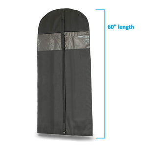Online shopping plixio 60 black garment bags for breathable storage of dresses dance costumes suits includes zipper transparent window 6 renewed