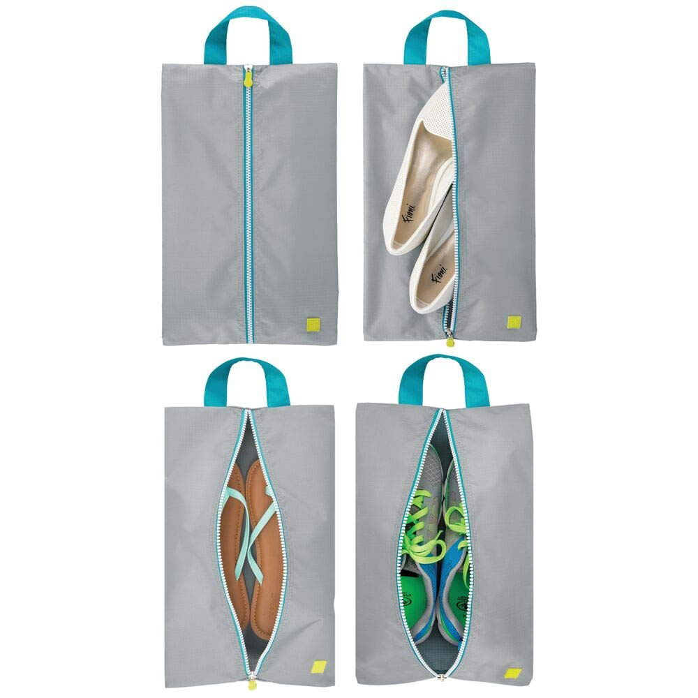 mDesign Water-Resistant Shoe Travel Storage Organizer Tote Bag with Zipper Closure and Hanging Loop for Packing Luggage/Suitcase and Carry-On - Pack of 4, Gray/Teal Blue Trim, White Zipper