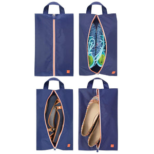 mDesign Water-Resistant Shoe Travel Storage Organizer Tote Bag with Zipper Closure and Hanging Loop for Packing Luggage/Suitcase and Carry-On - Pack of 4, Navy Blue/White Trim, Orange Zipper