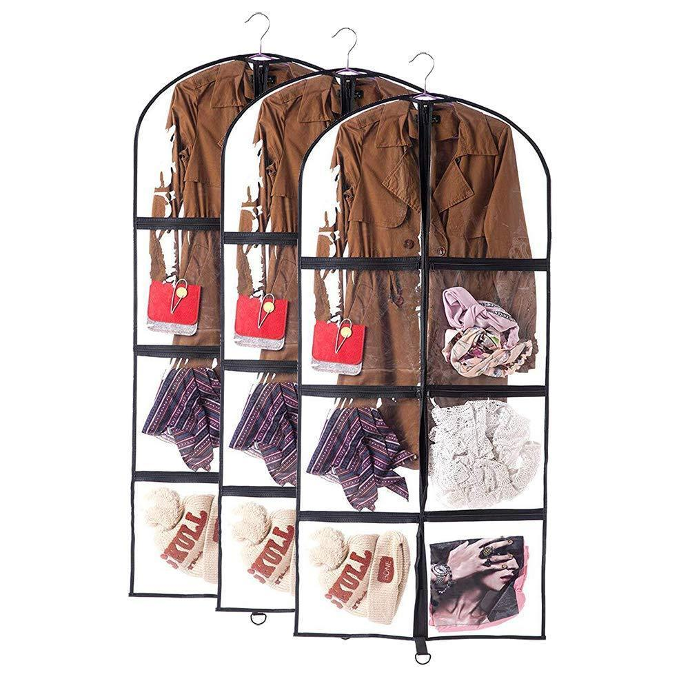 Order now qees 3 pcs clear garment bags for storage costume bags for dance competitions with pockets full zipper dust proof suit bags gift for women 23 6 50 jjz311
