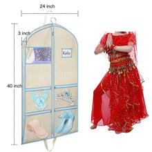 Load image into Gallery viewer, Organize with syeeiex dance costume garment bag 40 inch with accessories zipper pockets for children dance dresses t shirt skirt clothing carrying and storage