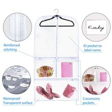 Load image into Gallery viewer, Organize with clear gusseted suit garment bag 20 inch x 38 inch dance dress and costumes hanging travel storage for clothes shoes and accessories water resistant organizer