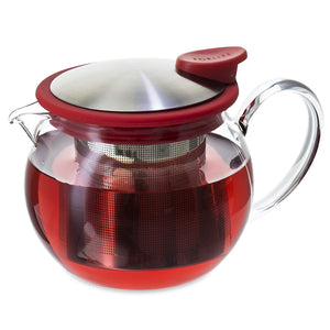 FORLIFE Bola Glass Teapot with Basket Infuser, 15-Ounce/444ml, Red