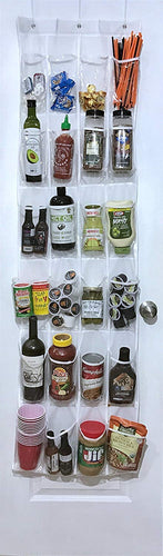 White Over the Door Pantry Organizer / Hanging Kitchen Storage Rack with 24 Clear Pockets by Our Simple Life