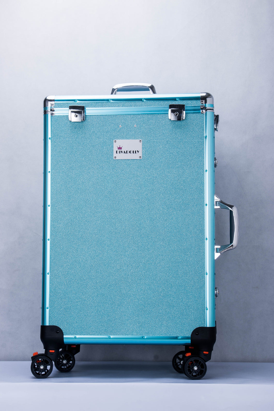 Ice Blue DivaDolly with Silver Trim | Rolling Dance Bag Alternative with a Wardrobe Rack
