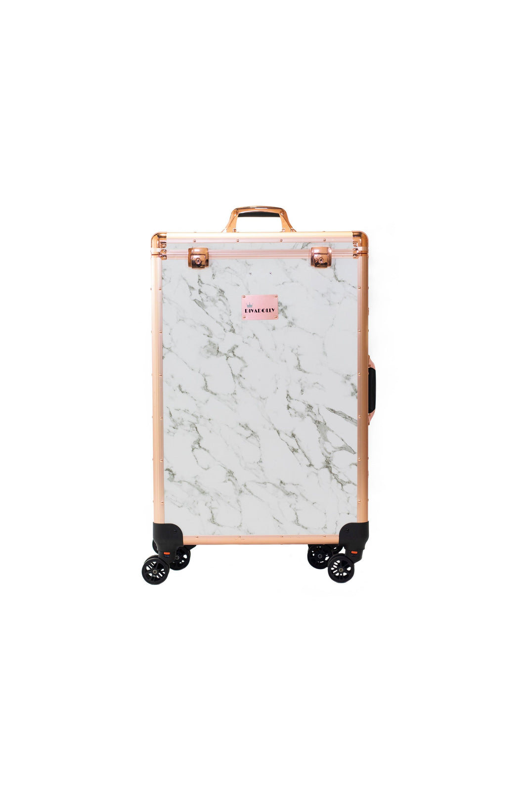Factory Second White Marble DivaDolly with Rose Gold Trim | Rolling Dance Bag Alternative with a Wardrobe Rack