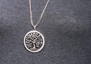 Tree of life Crystal Pendant Necklace Gold Silver Colors Elegant Long Chain