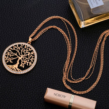 Load image into Gallery viewer, Tree of life Crystal Pendant Necklace Gold Silver Colors Elegant Long Chain