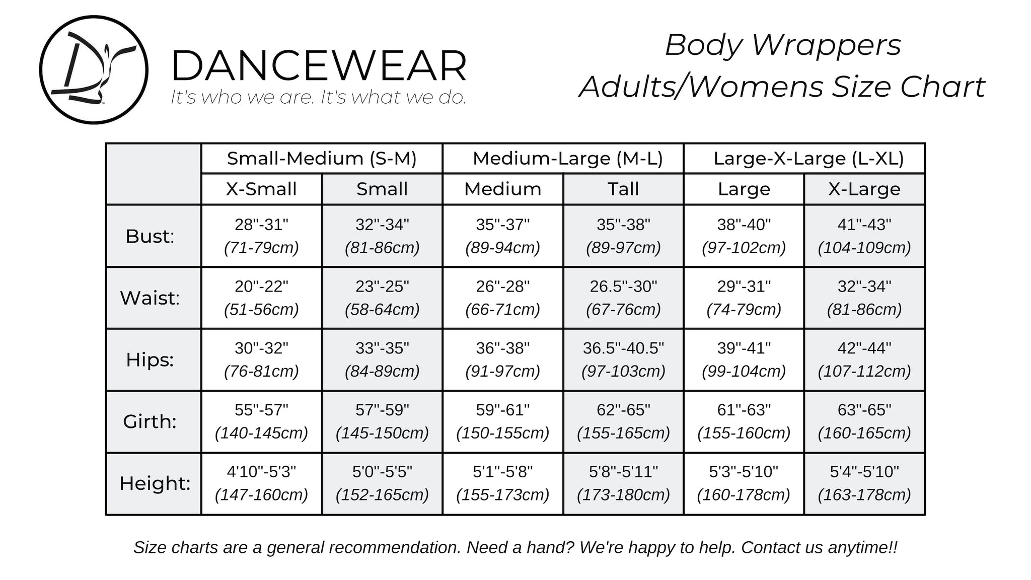 Body Wrappers Adults/Womens Size Chart