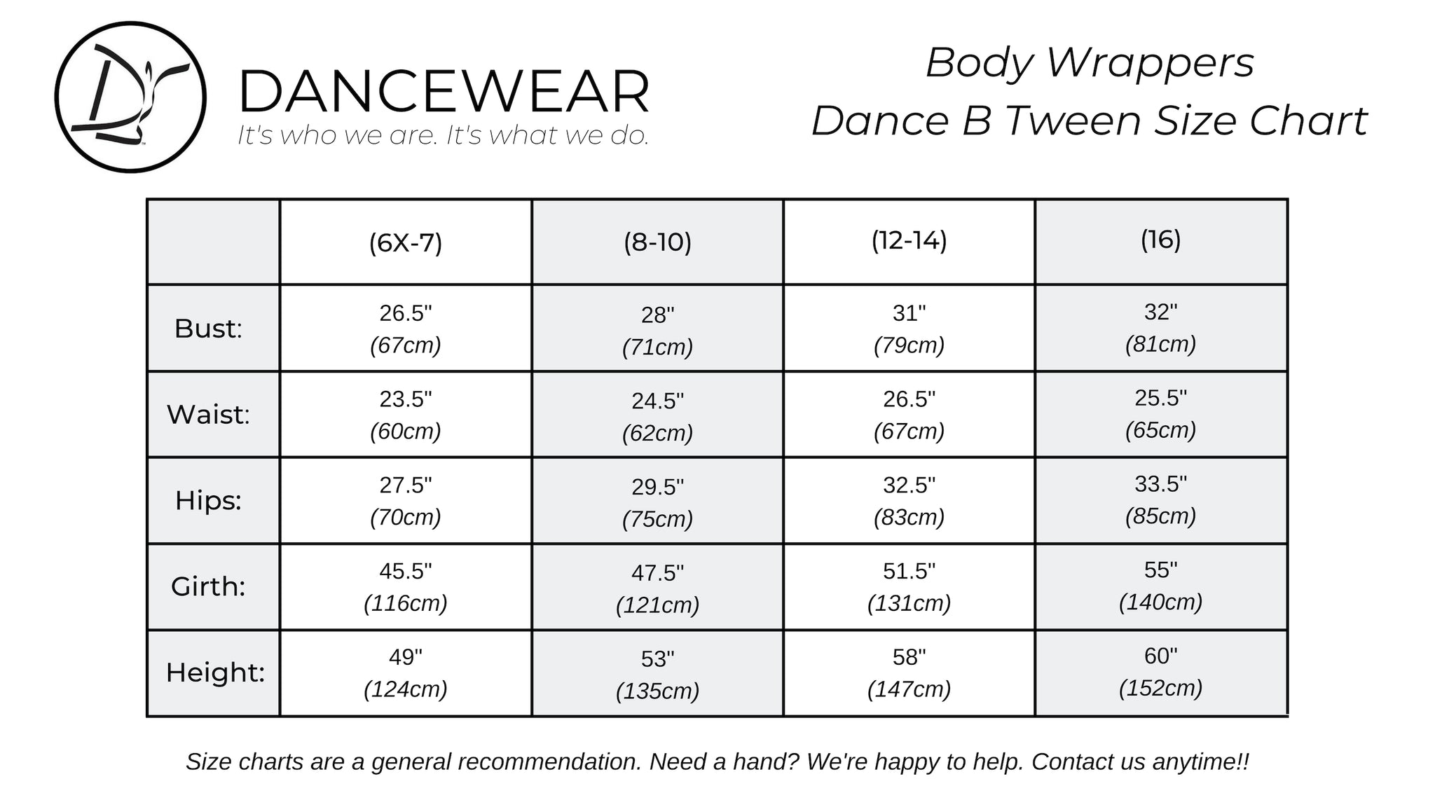 Body Wrappers Dance B Tween Size Chart